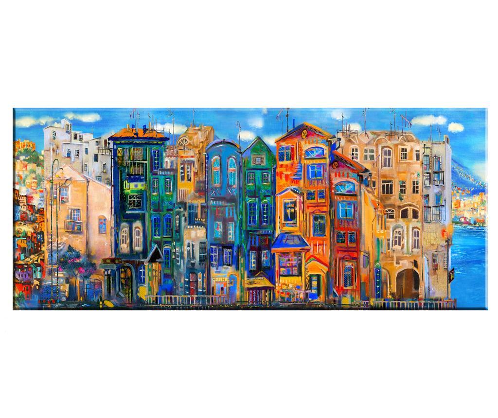 Tablou Colourful Houses 60x140 cm - Tablo Center, Multicolor imagine