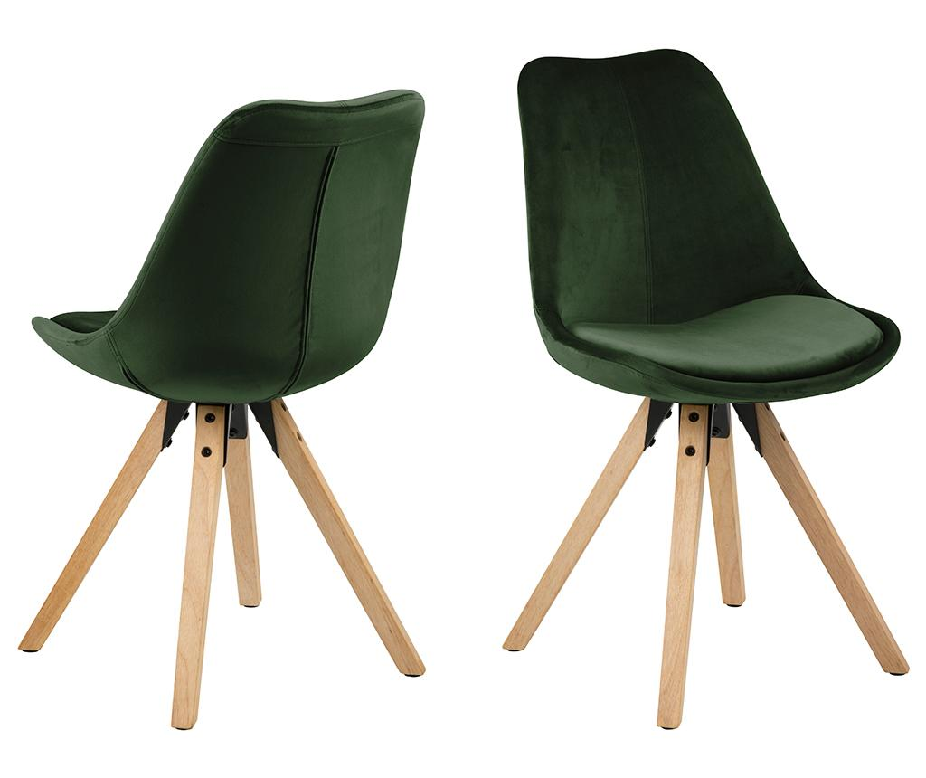 Set 2 scaune Dima Soft Forest Green - actona, Verde imagine