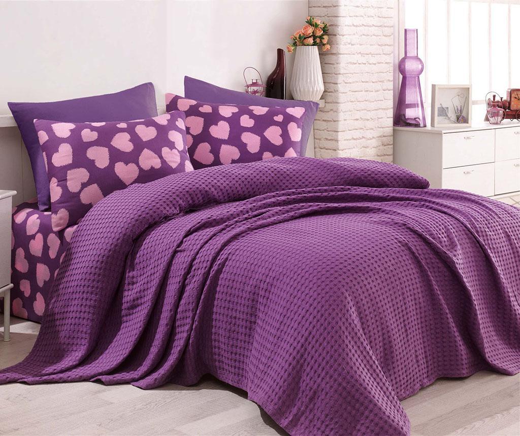 Lenjerie de pat Double Pique Parikalpli Purple - EnLora Home, Mov imagine