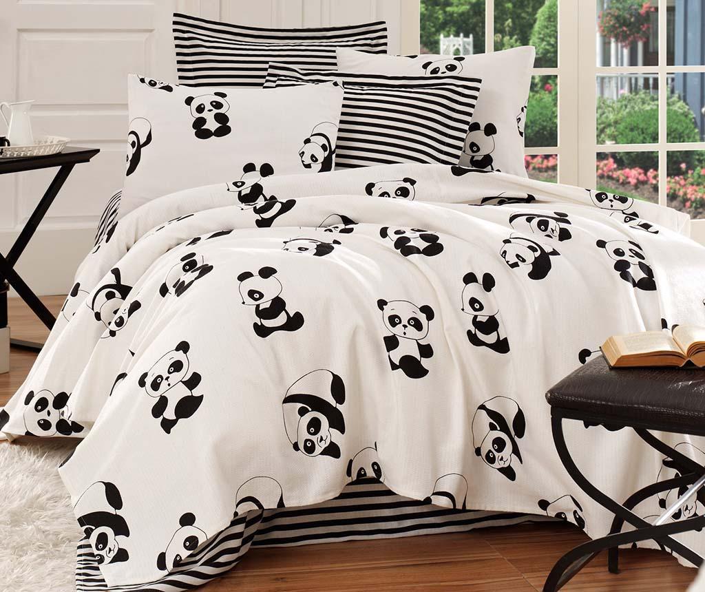 Lenjerie de pat Double Pique Panda - EnLora Home, Alb,Negru de la EnLora Home