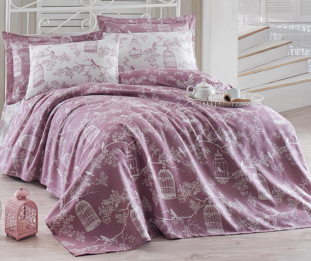 Lenjerie de pat Double Pique Samyeli Lilac - Eponj Home, Alb,Mov imagine
