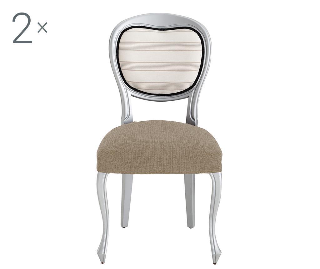 Set 2 huse elastice pentru scaun Dorian Tan Backless - Eysa, Crem imagine