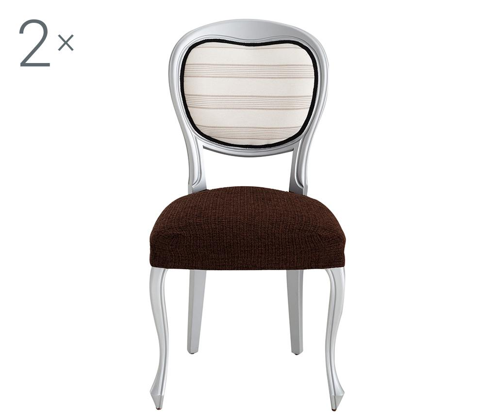 Set 2 huse elastice pentru scaun Dorian Brown Backless