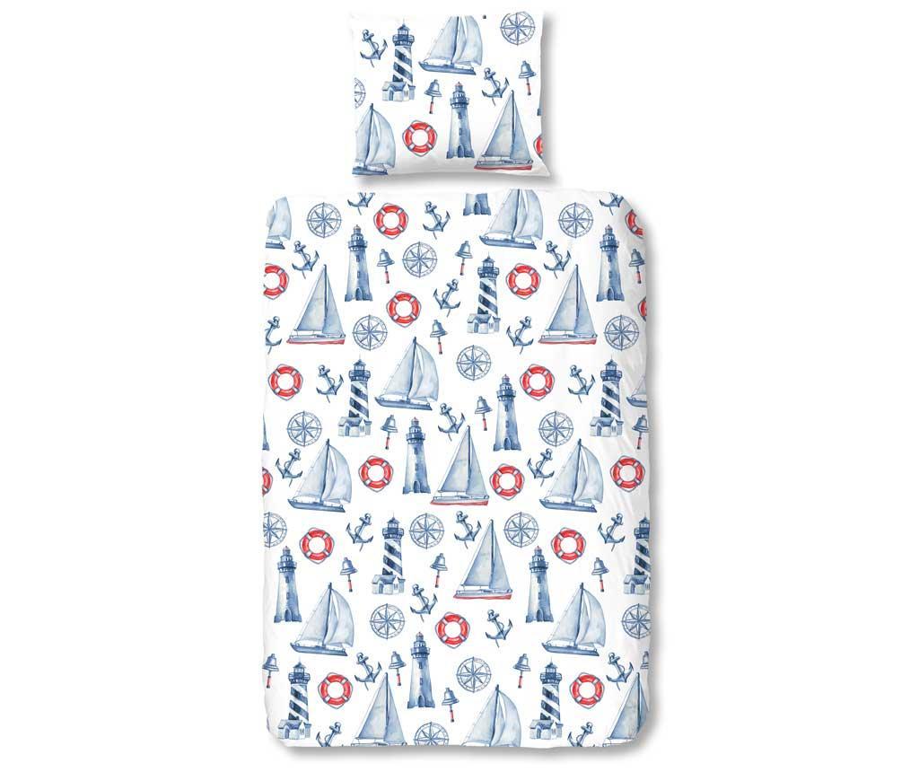 Set de pat Single Ranforce Rosi - KIDS ALL OVER, Albastru imagine vivre.ro
