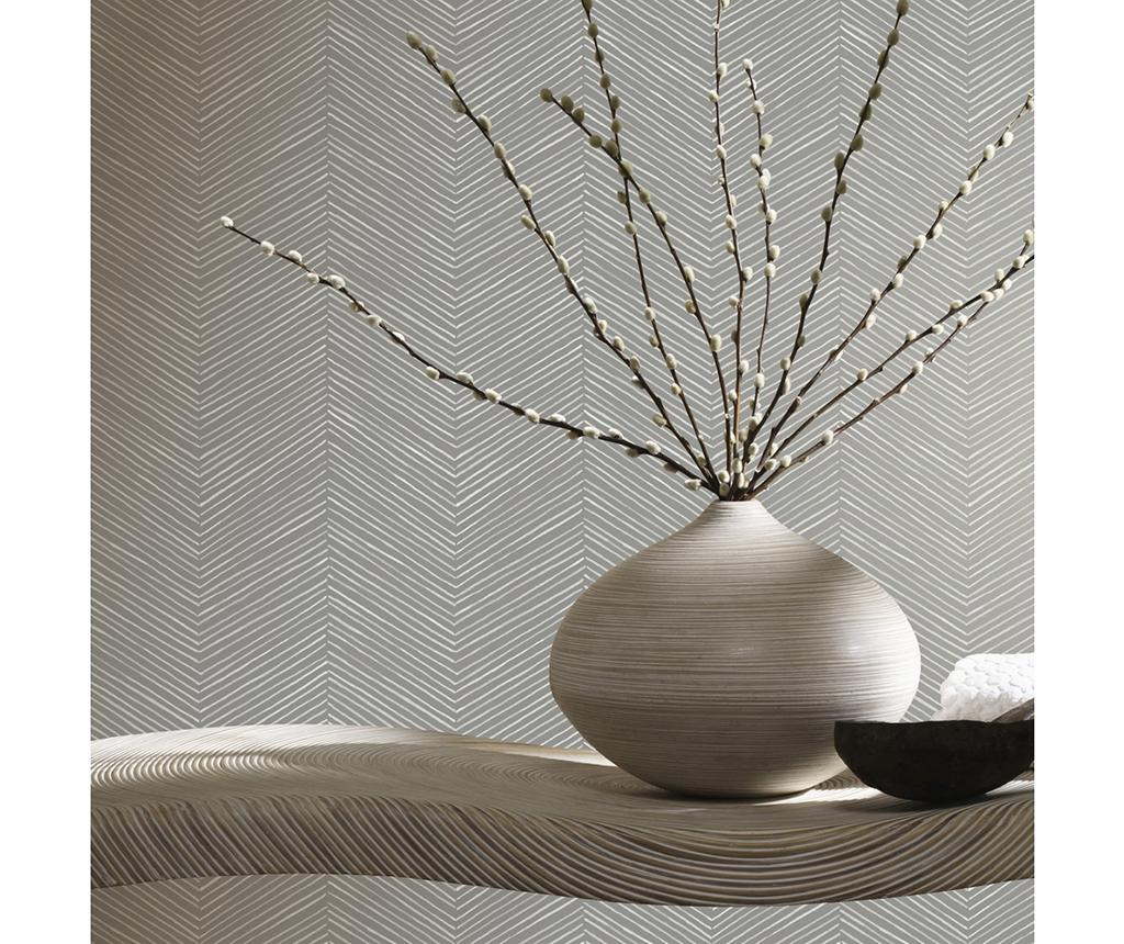 Tapet Arrow Weave Charcoal 53x1005 cm - Arthouse, Gri & Argintiu poza