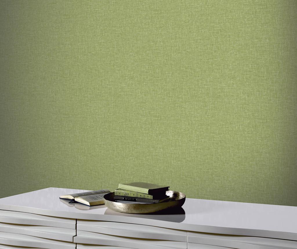 Tapet Linen Texture Moss Green 53x1005 cm