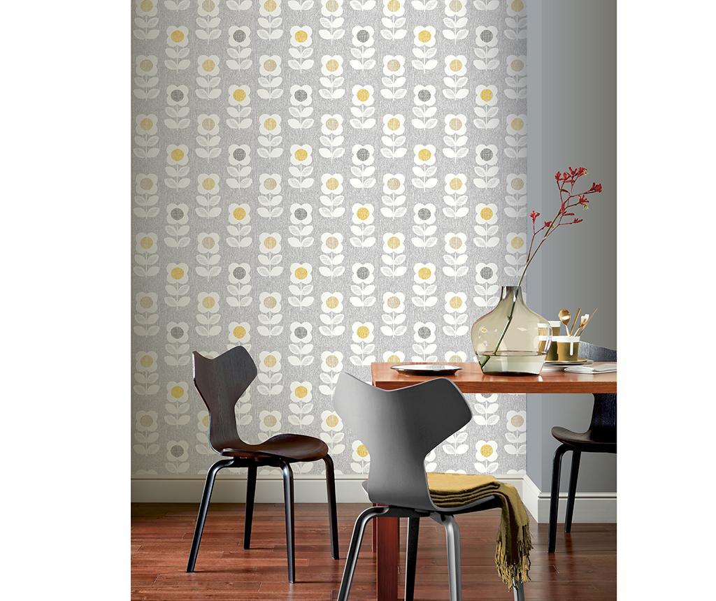 Tapet Retro Floral Grey Yellow 53x1005 cm
