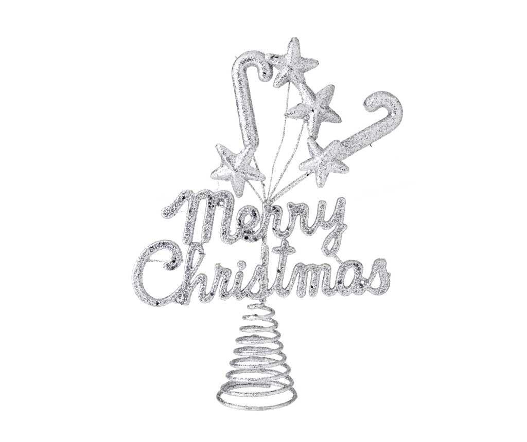 Varf de brad Merry Christmas Silver