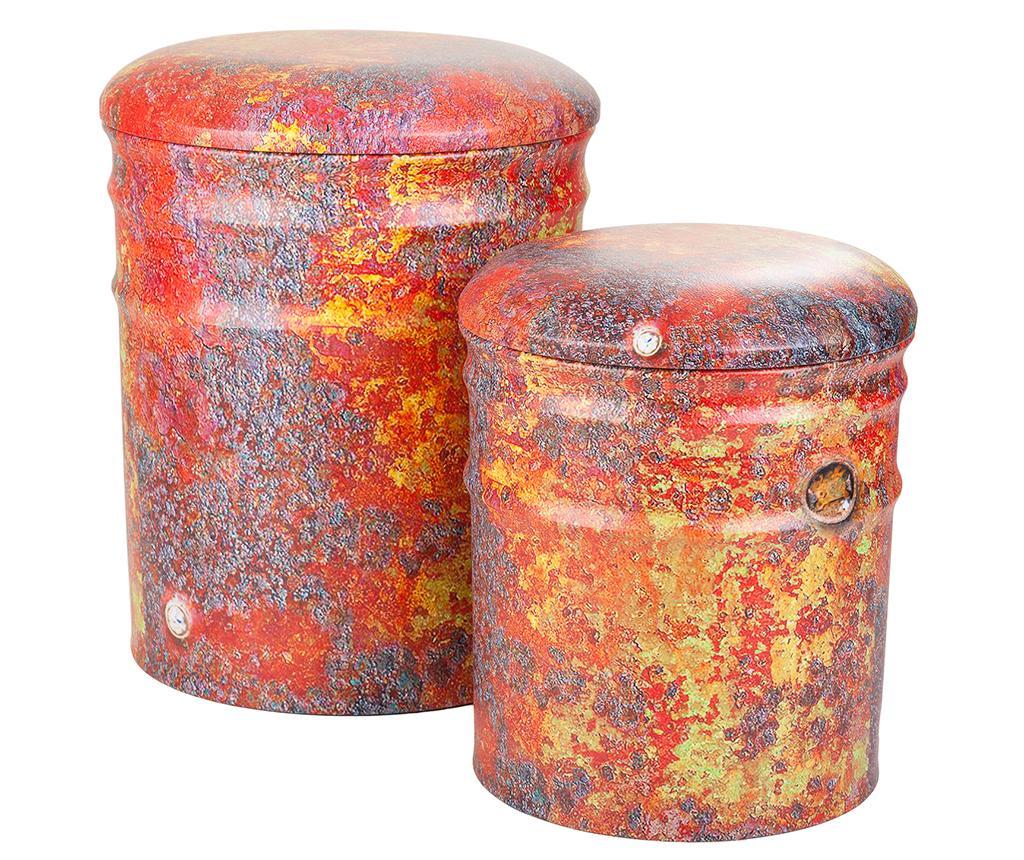 Set 2 taburete Drum Red - Creaciones Meng, Multicolor imagine