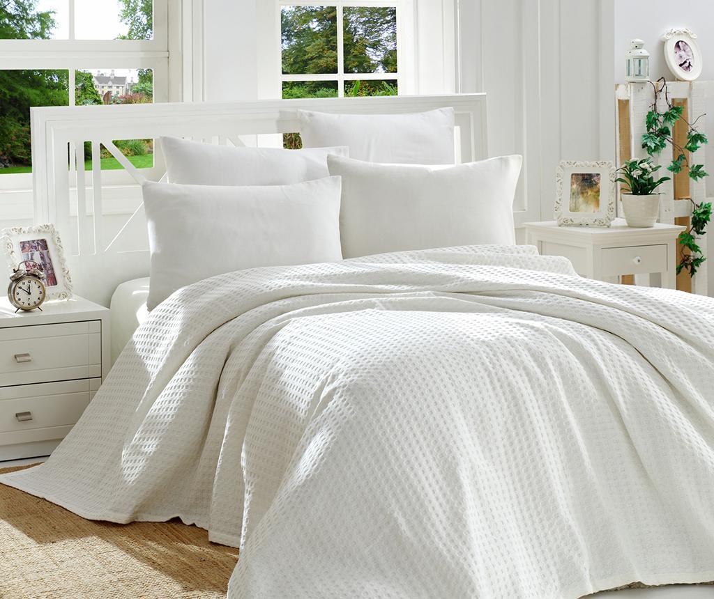 Lenjerie de pat Double Pique Burum White - EnLora Home, Alb vivre.ro