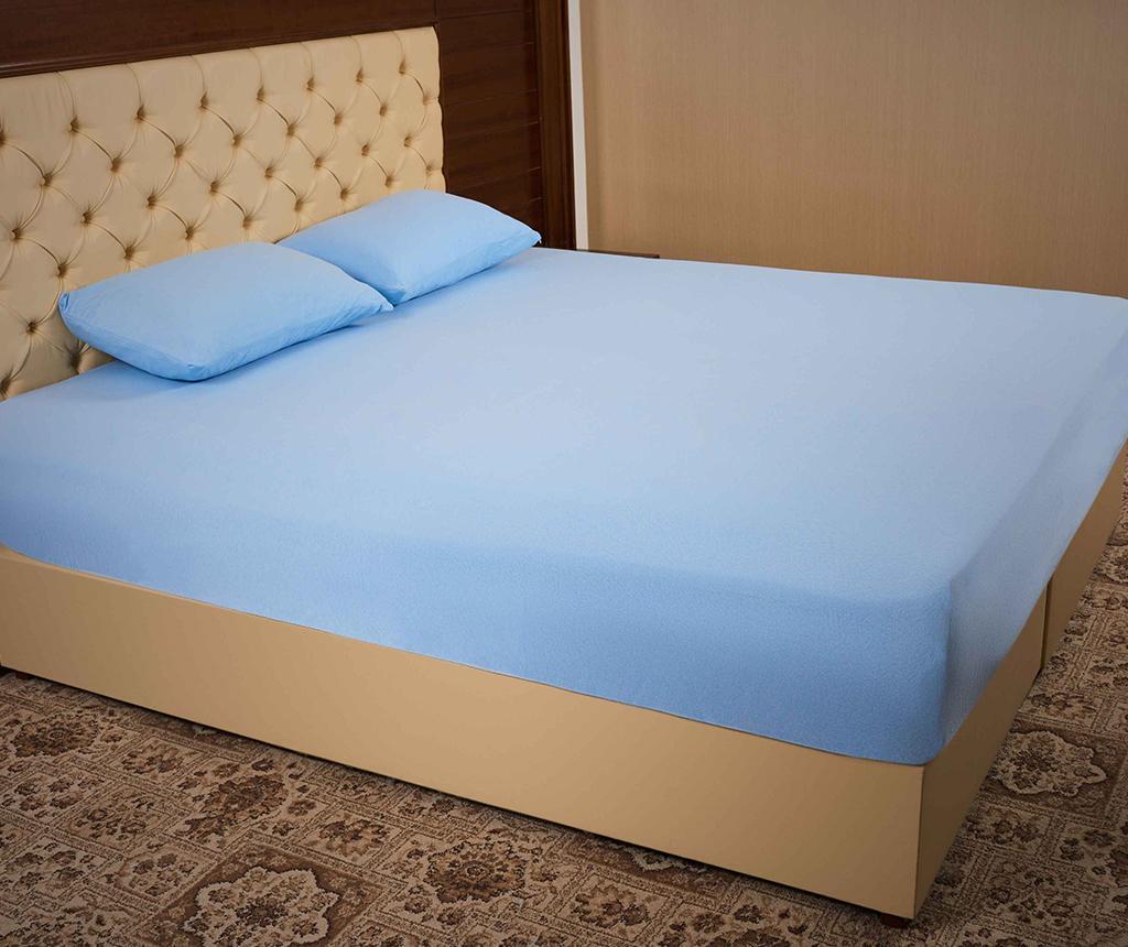 Set cearsaf de pat cu elastic si 2 fete de perna Jersey Blue
