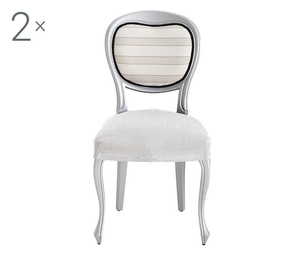 Set 2 huse elastice pentru scaun Ulises Ecru - Eysa, Crem imagine