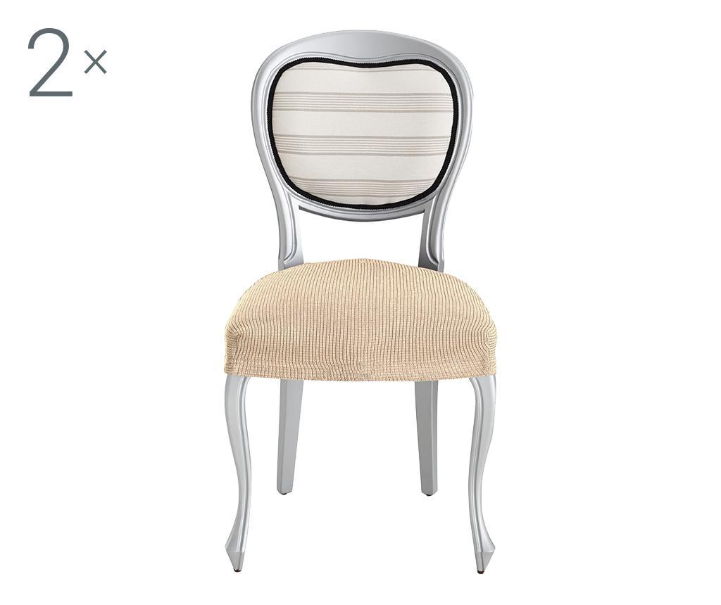 Set 2 huse elastice pentru scaun Ulises Beige - Eysa, Crem imagine