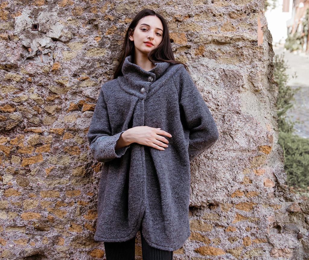 Palton dama Sissi Corinzio - Chez Moi, Gri & Argintiu poza