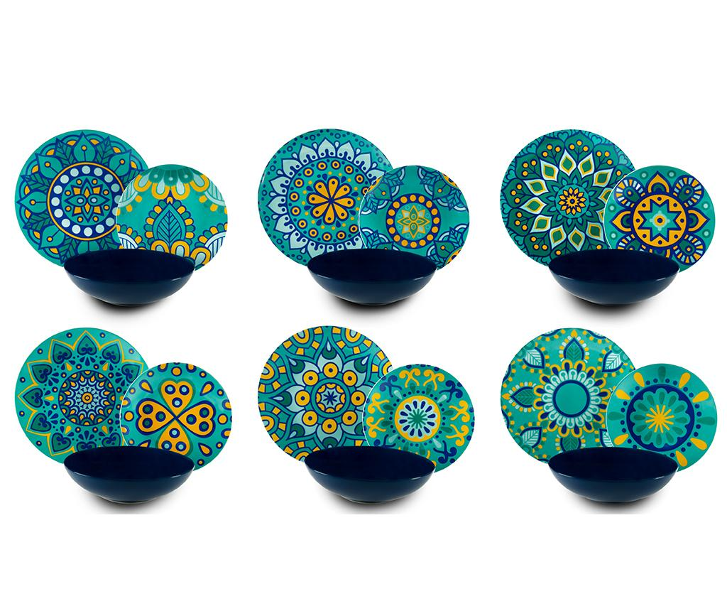 Set de masa 18 piese Mandala Mediterraneo - Excelsa, Multicolor imagine