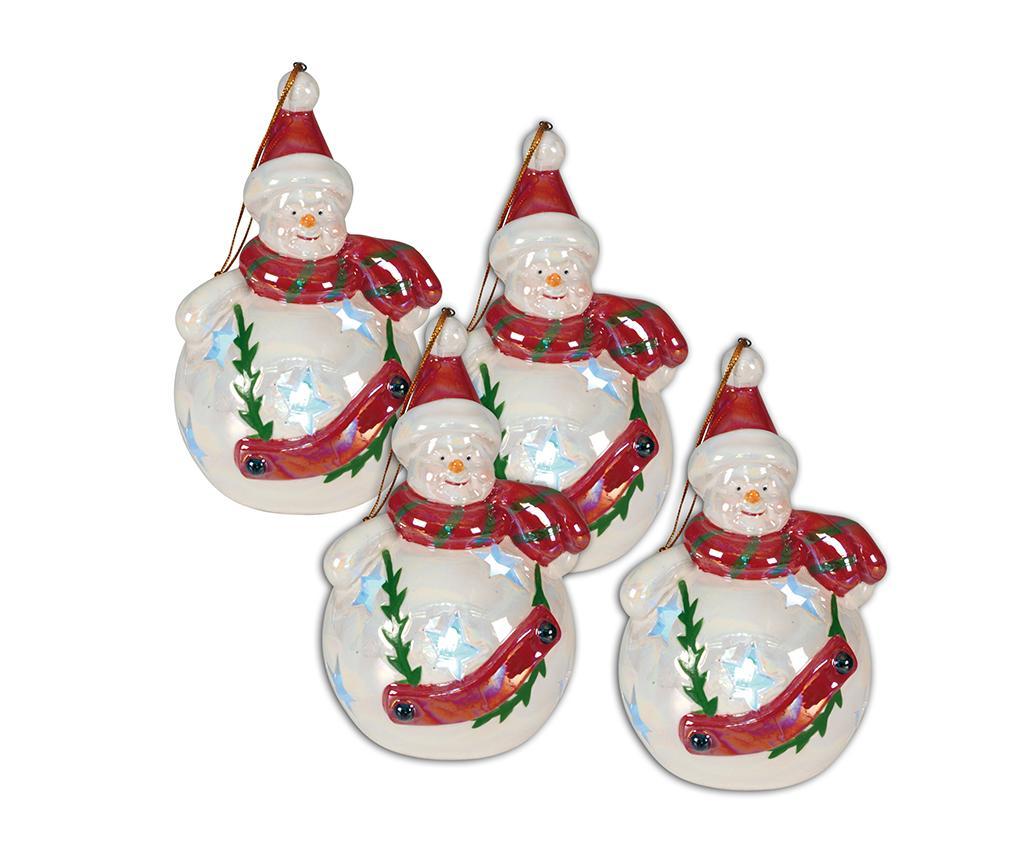Set 4 decoratiuni suspendabile luminoase Snowman imagine