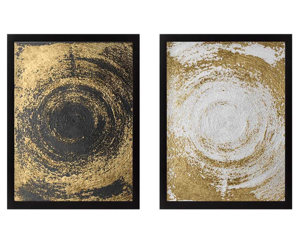 Set 2 tablouri Circles Golden 34x44 cm vivre.ro