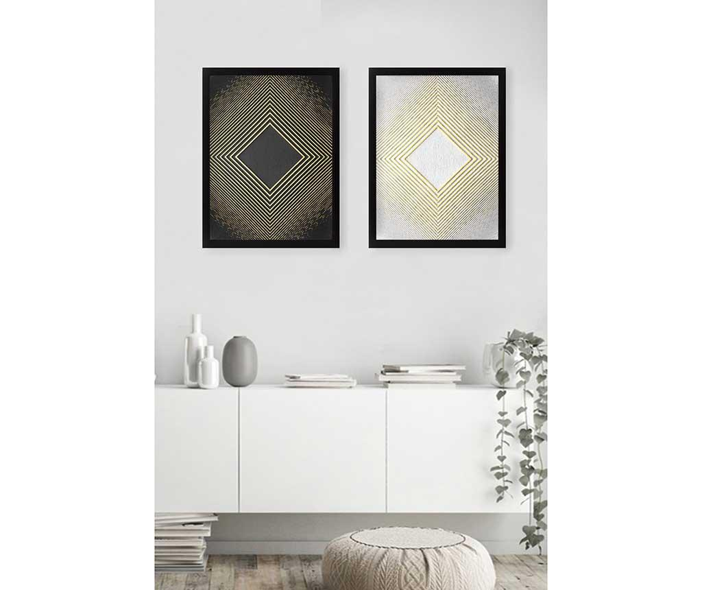 Set 2 tablouri Rhombus Golden 34x44 cm imagine