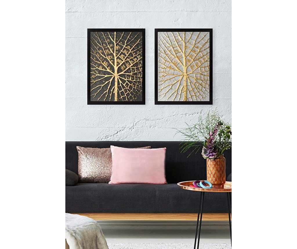 Set 2 tablouri Tree Golden 34x44 cm - Tablo Center, Galben & Auriu imagine