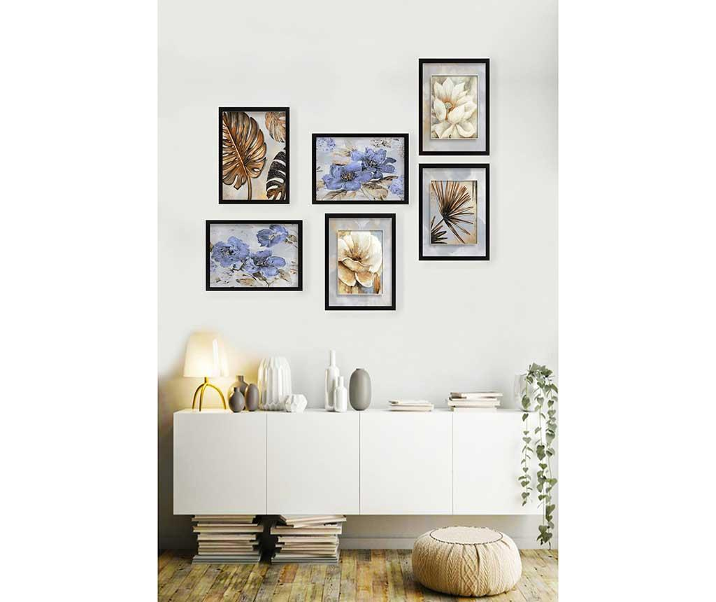 Set 6 tablouri Life Golden - Tablo Center, Multicolor imagine