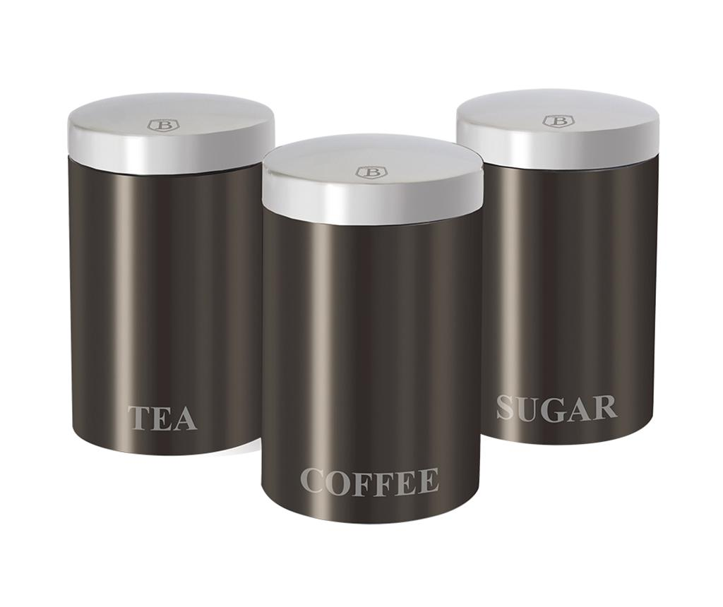 Set 3 recipiente cu capac Metallic Carbon imagine