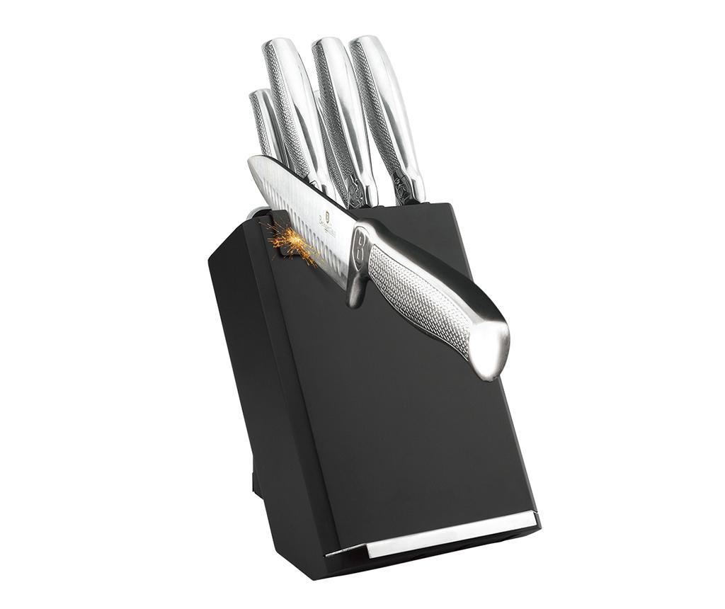 Set 5 cutite, foarfeca si suport Black Silver imagine