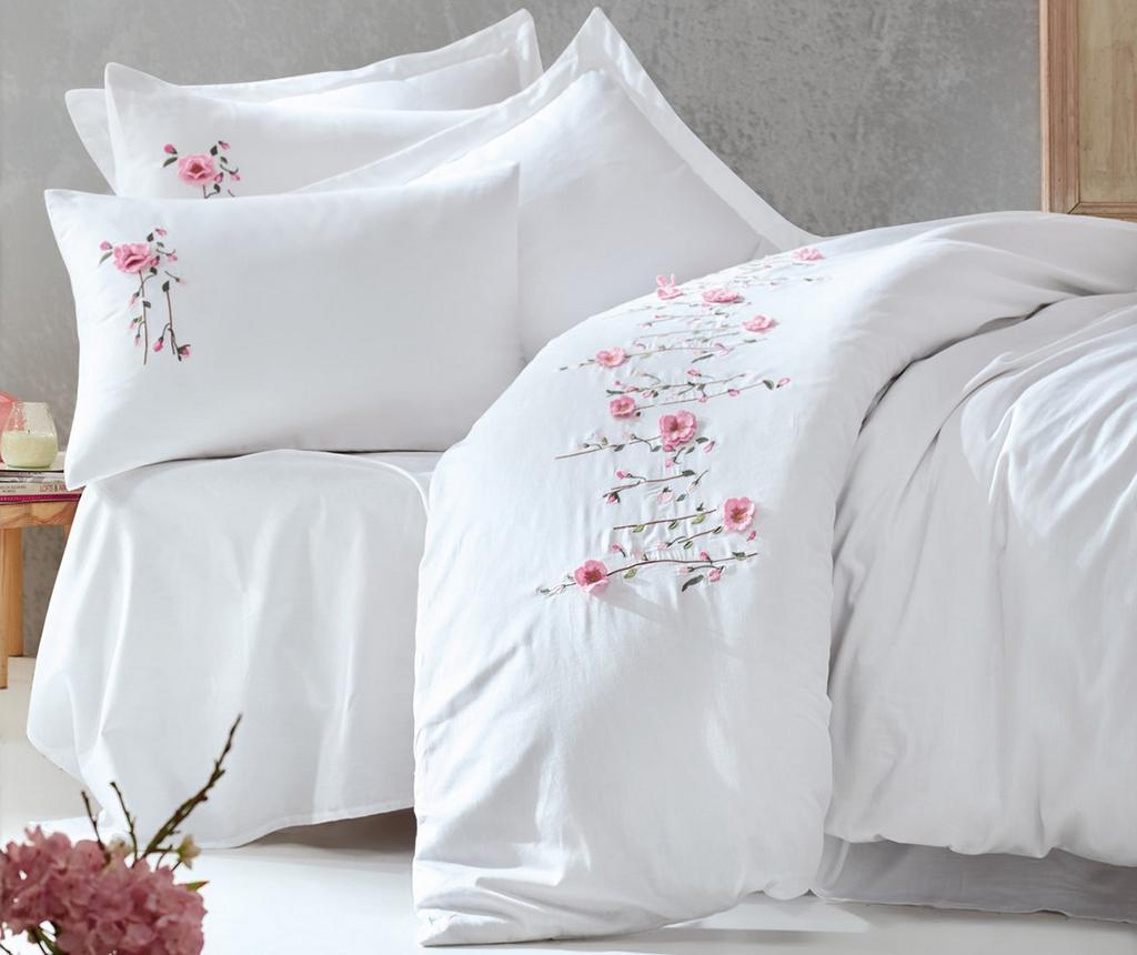 Lenjerie de pat King Satin Supreme Perla Embroidered White 200x220 - Cotton Box, Alb imagine