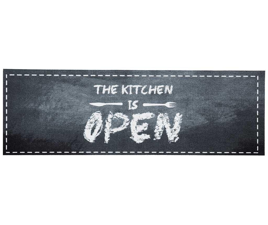 Covor The Kitchen is Open 50x150 cm - Hanse Home, Gri & Argintiu,Negru imagine