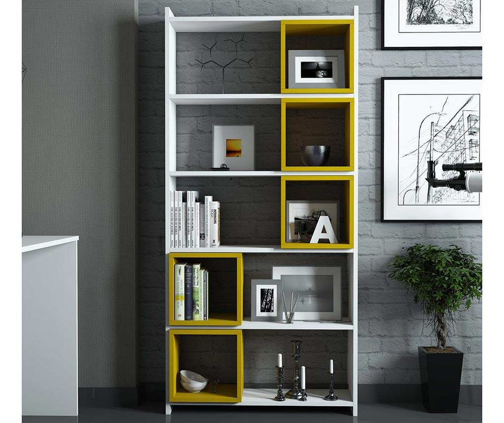 Set corp biblioteca si 5 rafturi modulare Devona White and Yellow