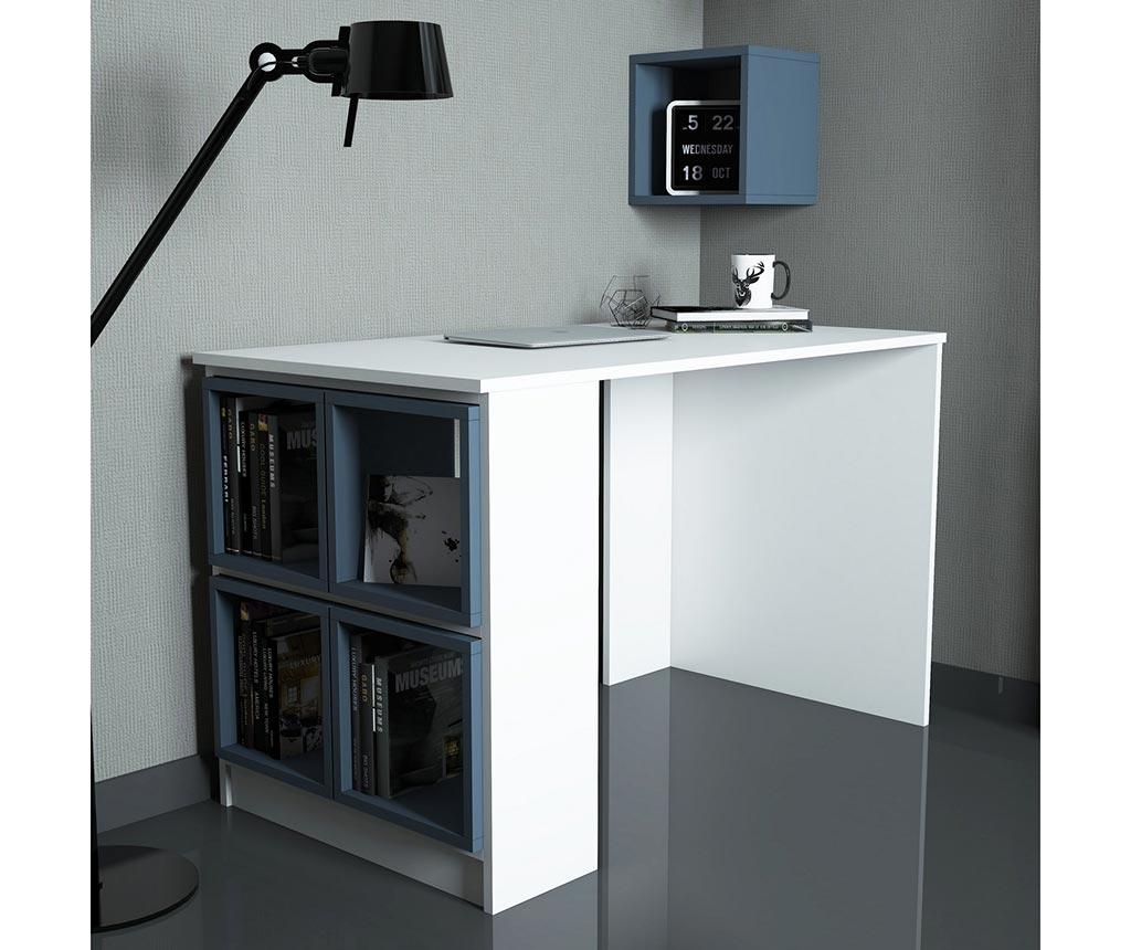 Set birou si 5 rafturi modulare Devona White and Blue - Hommy Craft, Albastru imagine