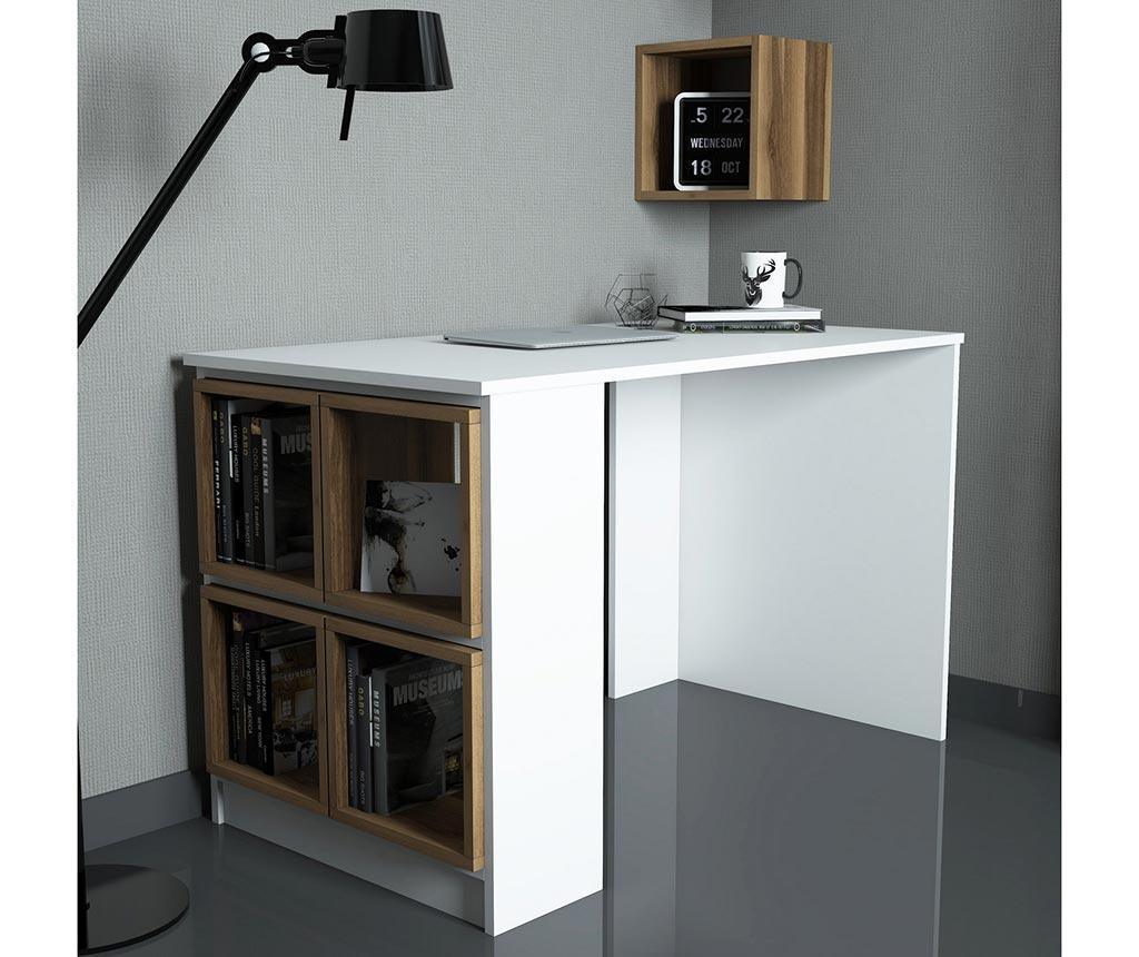 Set birou si 5 rafturi modulare Devona White and Walnut Effect - Hommy Craft, Maro imagine