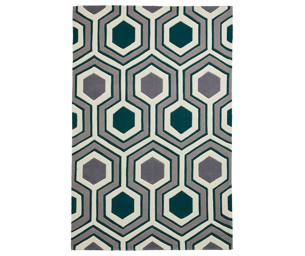 Covor Hong Kong Lina Grey and Green 120x170 cm - Think Rugs, Gri & Argintiu,Verde imagine
