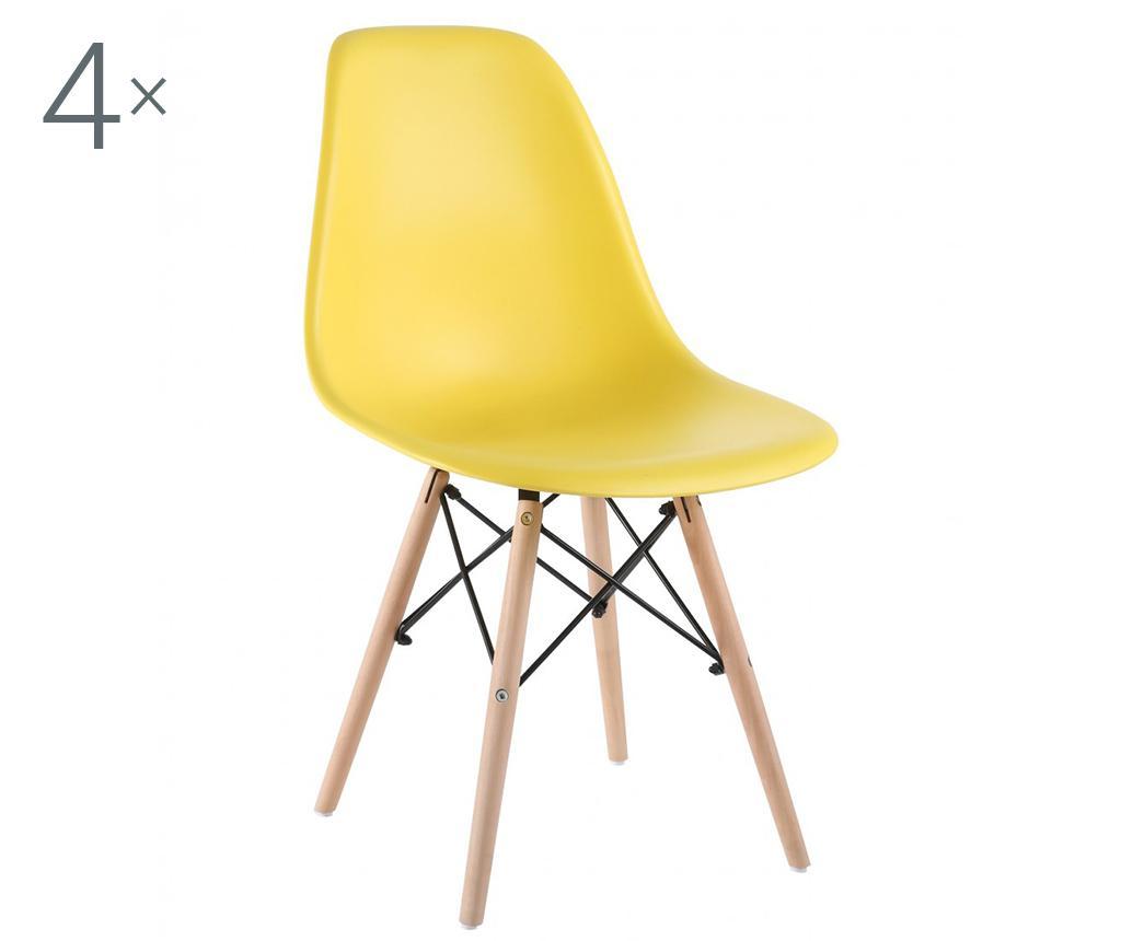 Set 4 scaune Lunaria Yellow - Unic Spot, Galben & Auriu