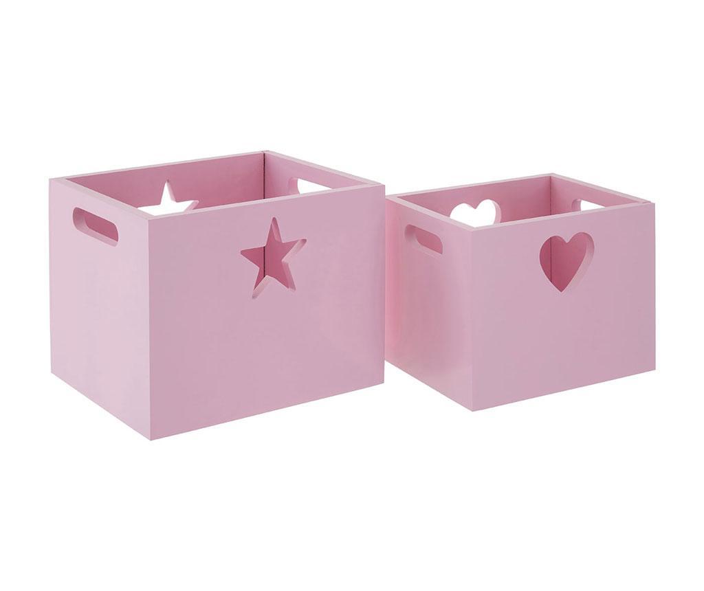 Set 2 cutii pentru depozitare Hearts And Stars Pink - Premier, Roz imagine