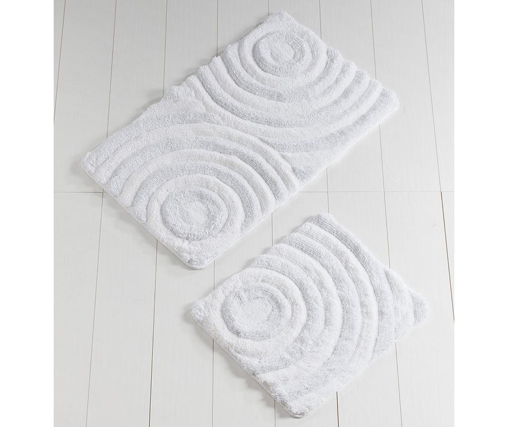 Set 2 covorase de baie Circles White Glitter - Chilai Home, Alb imagine vivre.ro