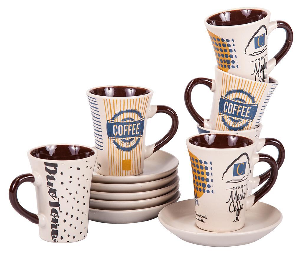 Set 6 cesti si 6 farfurioare Mocha Coffee Tall imagine