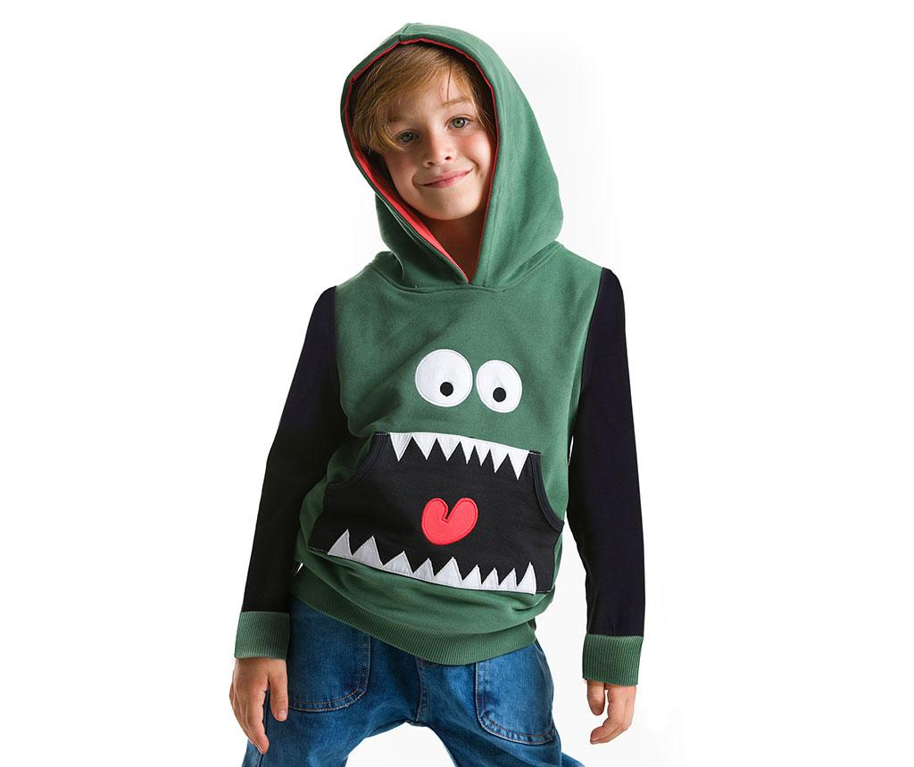 Hanorac pentru copii Toothy 4 ani - Denokids, Negru,Verde poza