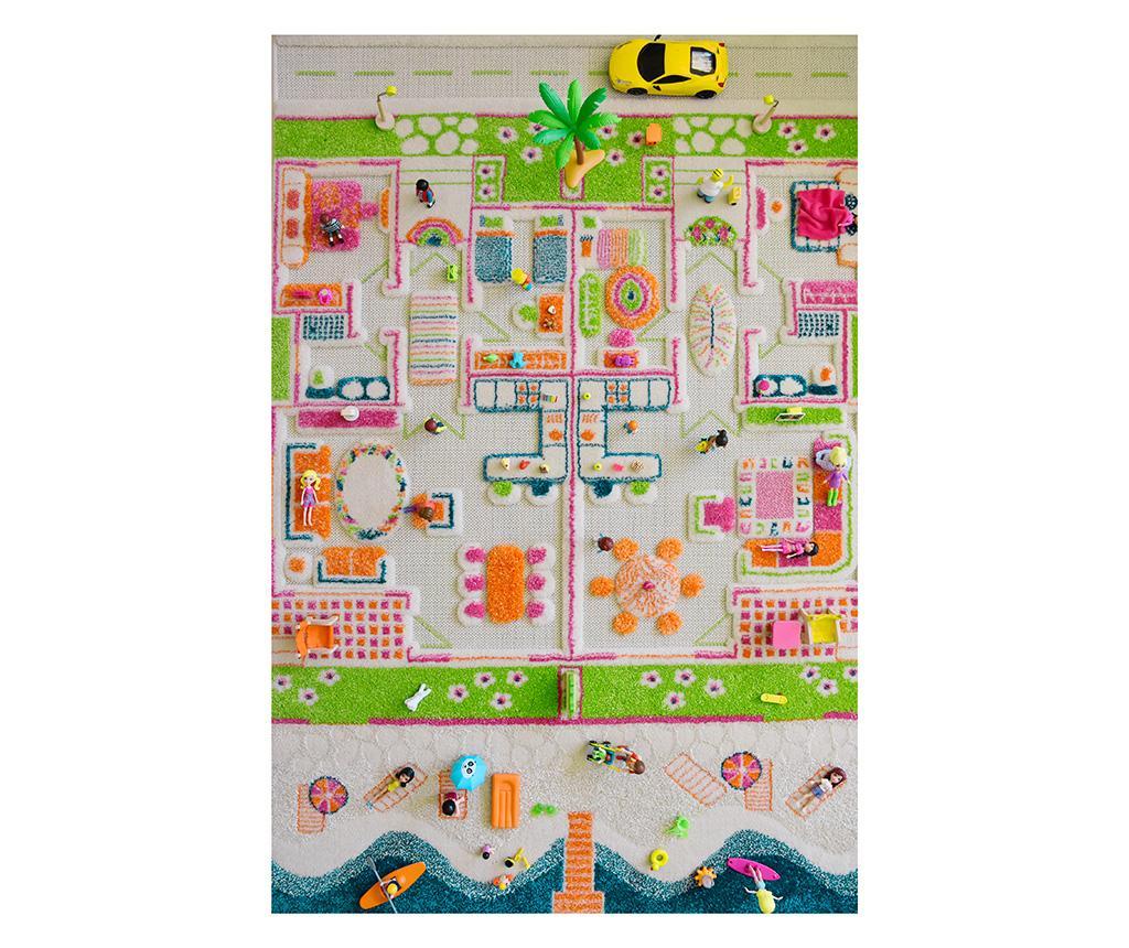 Covor de joaca Beach Houses Middle 3D 100x150 cm vivre.ro