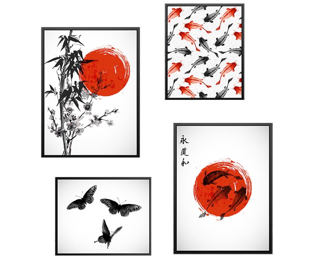Set 4 tablouri Japan Nature - Tablo Center, Multicolor imagine