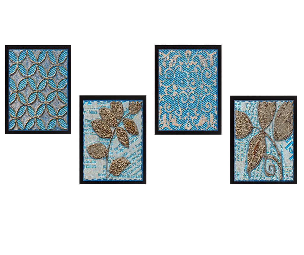 Set 4 tablouri Golden Leaves 24x29 cm imagine