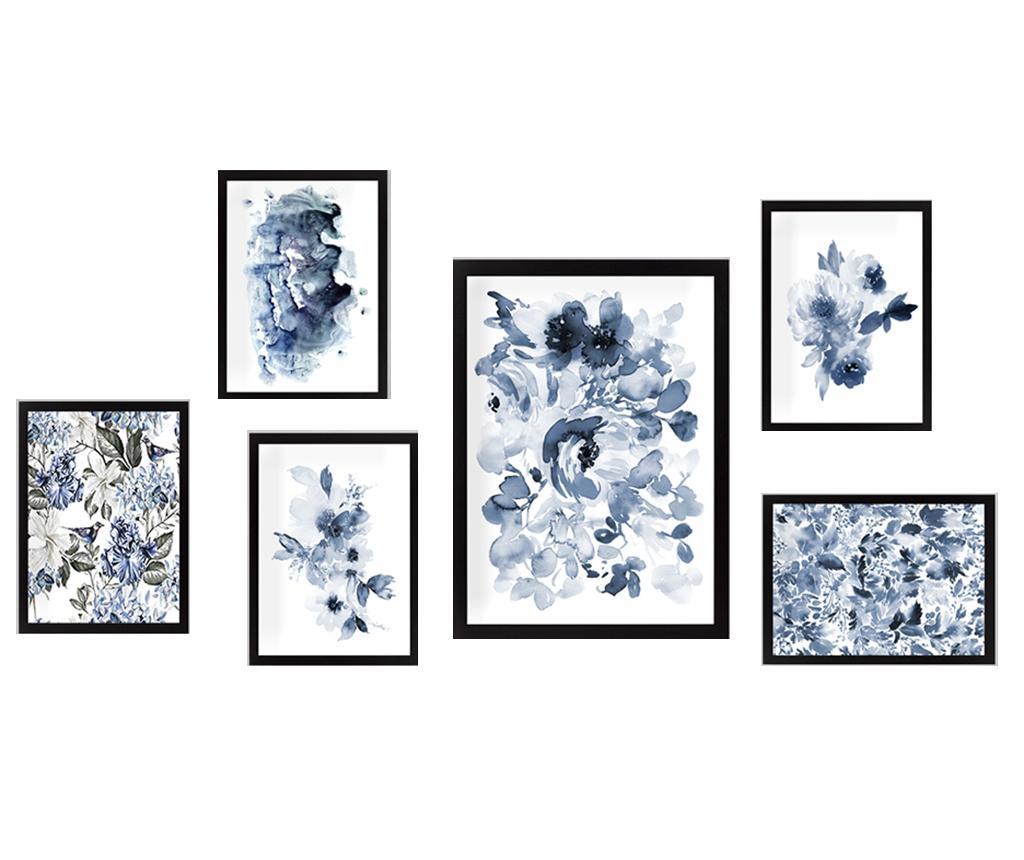 Set 6 tablouri Black and White Flowers - Tablo Center, Multicolor
