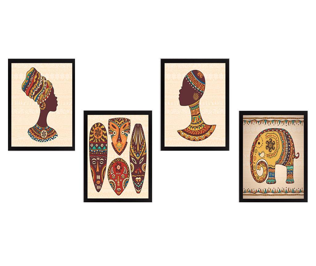 Set 4 tablouri Indian 24x29 cm - Tablo Center, Multicolor imagine