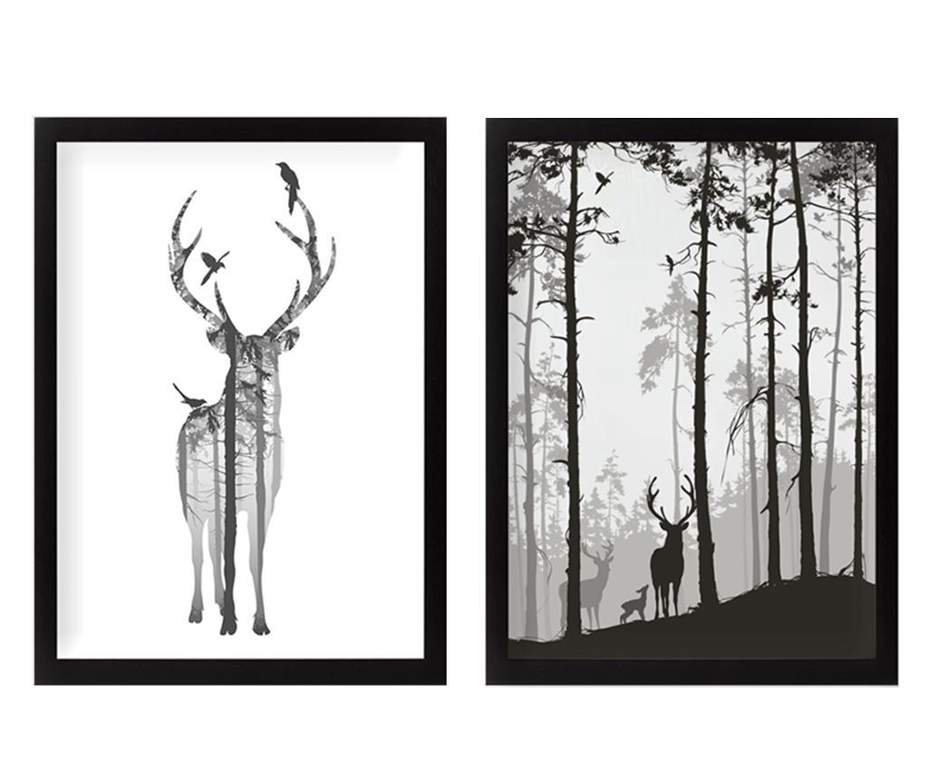 Set 2 tablouri Reindeer in the Woods 34x44 cm imagine