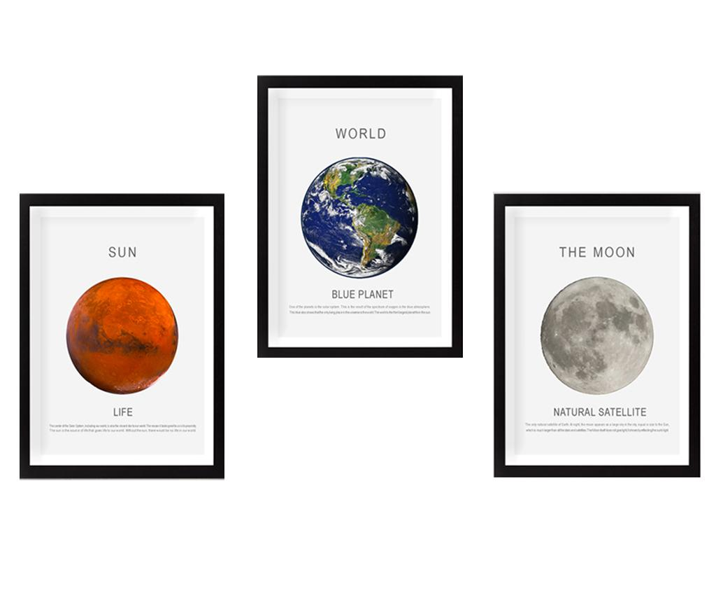 Set 3 tablouri Sun Moon Earth 34x44 cm - Tablo Center, Multicolor imagine