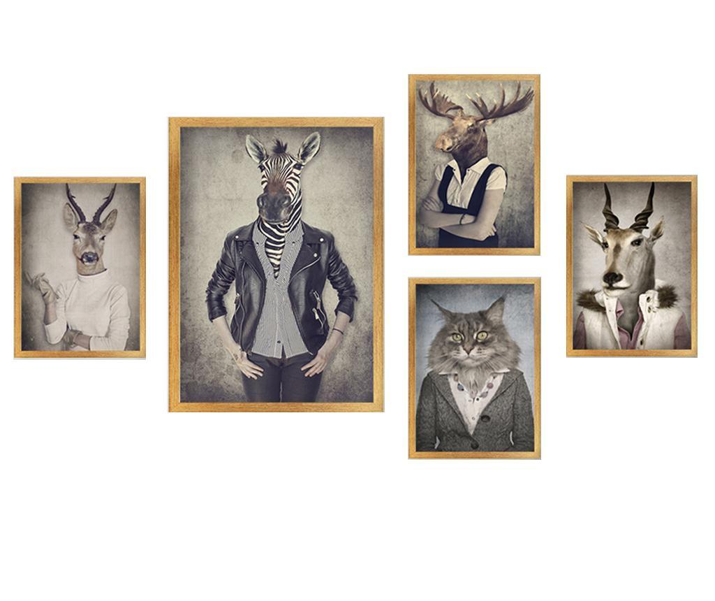 Set 5 tablouri Stylish Animals - Tablo Center, Multicolor imagine