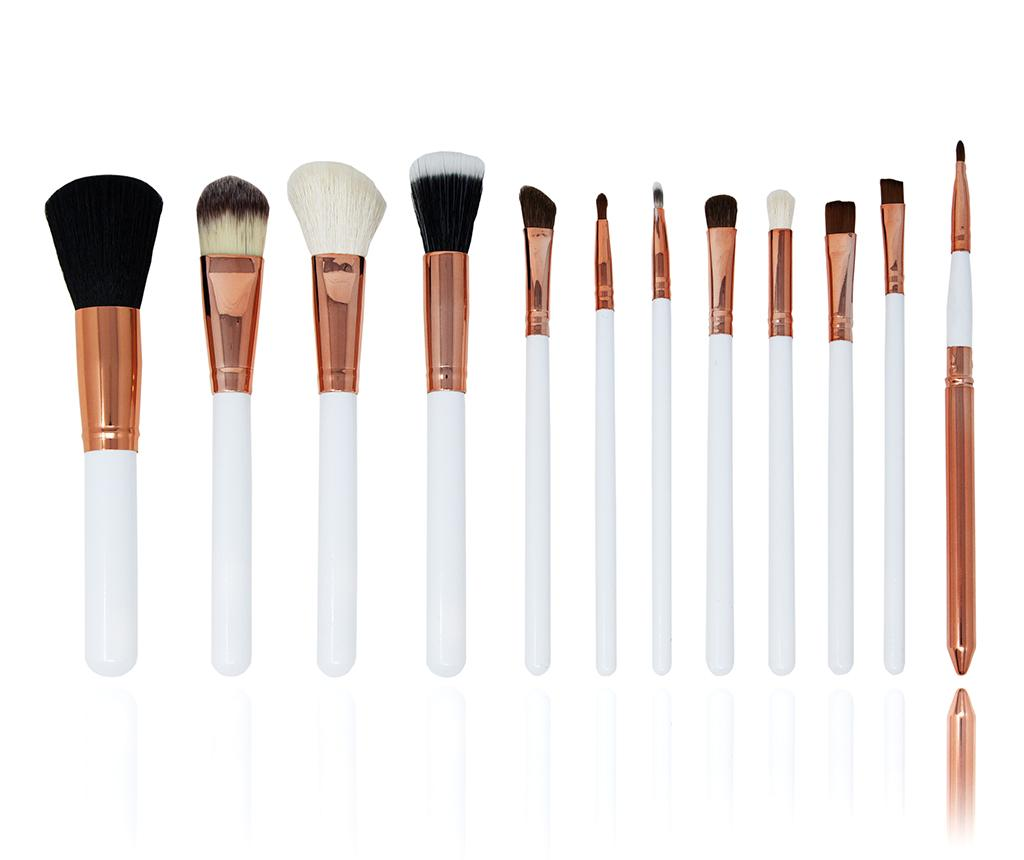 Set 12 pensule pentru machiaj si suport Makeup Lover White imagine