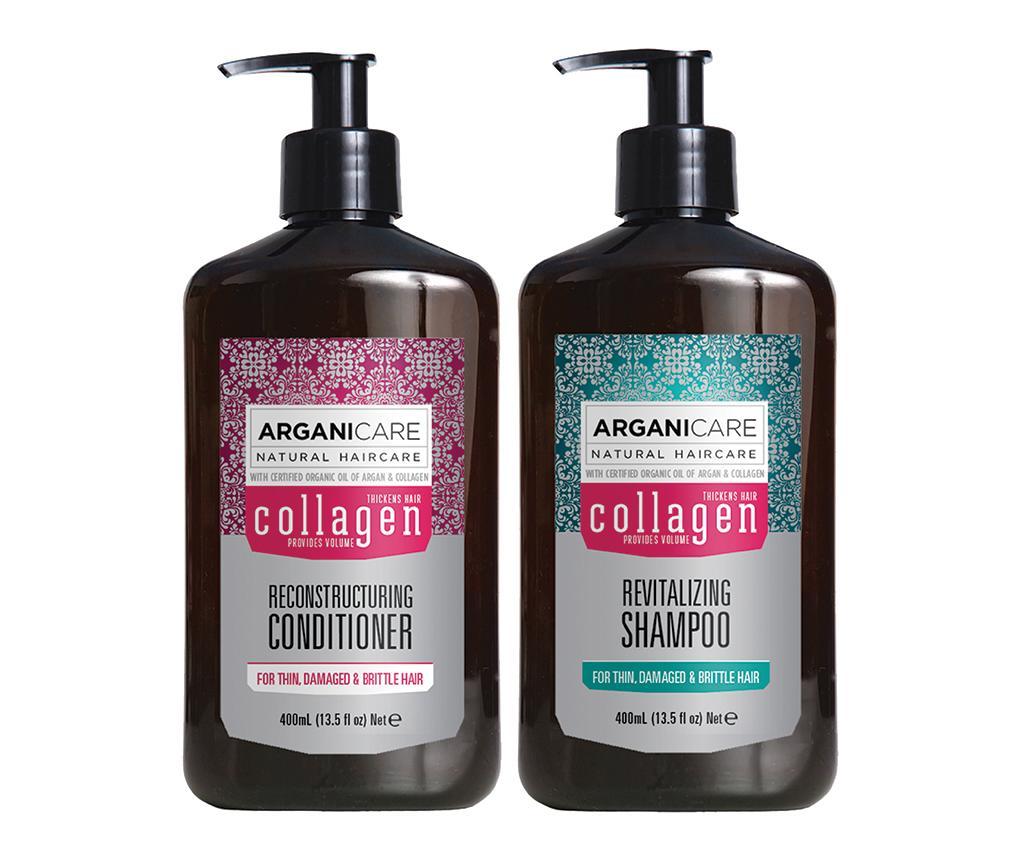 Set sampon si balsam pentru par lipsit de vitalitate si tern Collagen - Arganicare poza