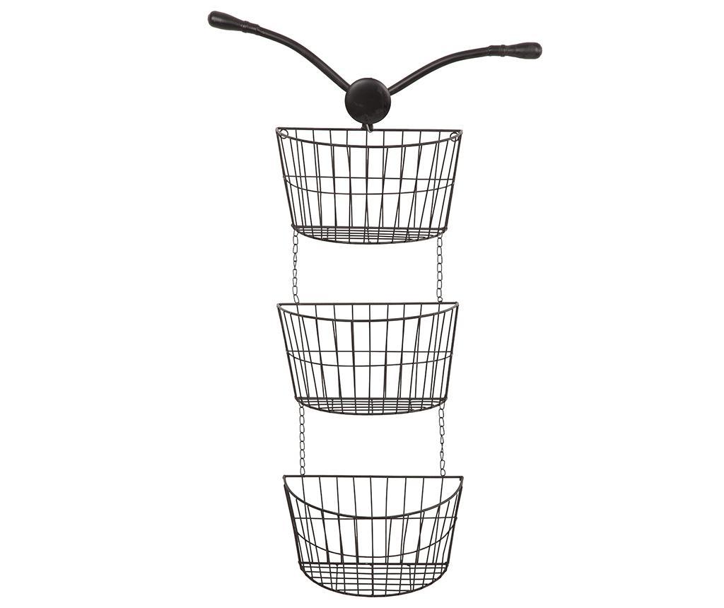 Suport cu 3 cosuri Bicycle - Creaciones Meng, Negru imagine