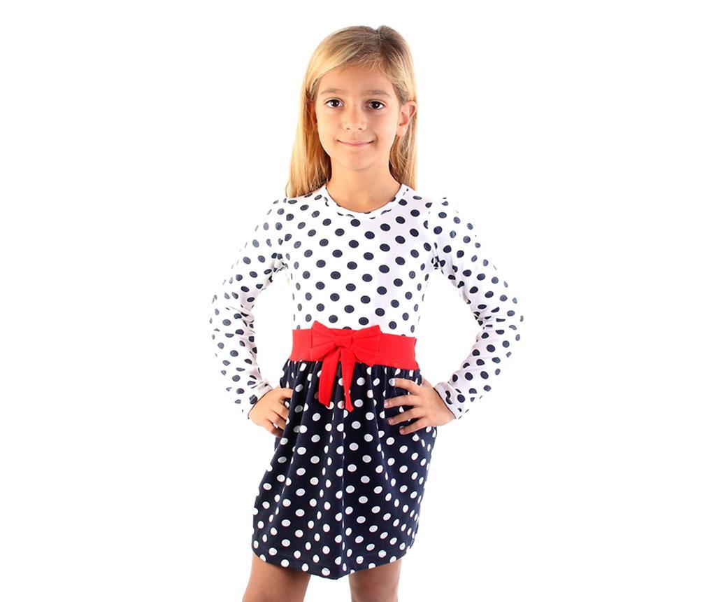 Rochie cu maneca lunga copii Bow Dots 6-7 ani