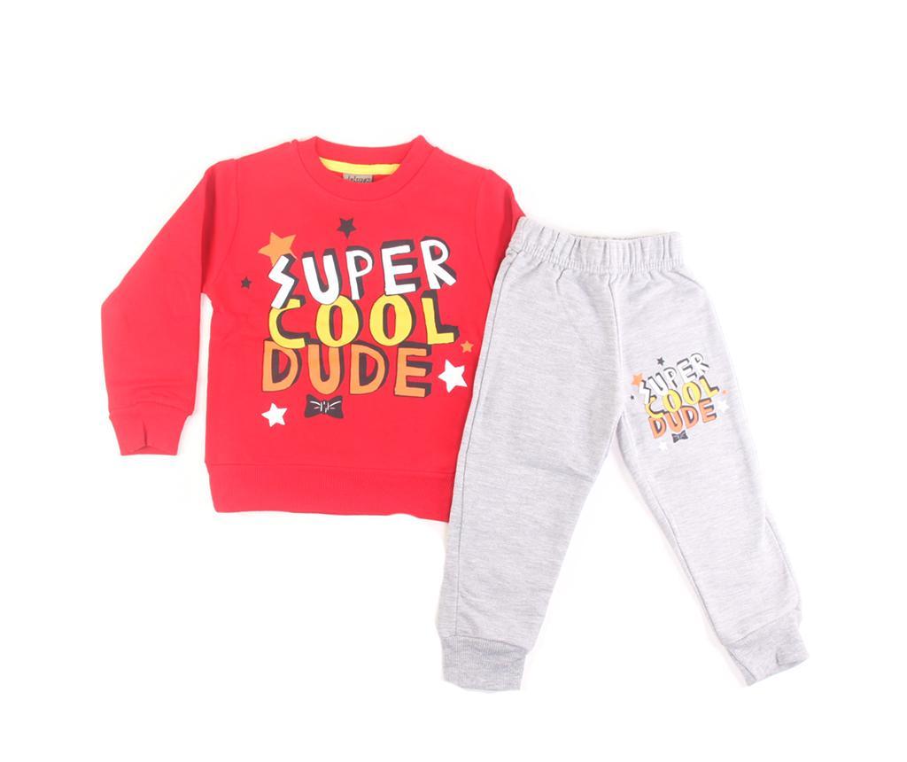 Set bluza cu maneca lunga si pantaloni copii Super Cool Dude Red 2 ani